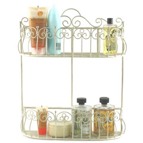 Cream Scrolled Metal 2 Shelf Bathroom Wall Storage Baskets